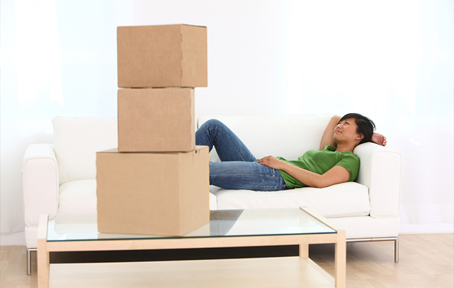 Woman Relaxing During a Move